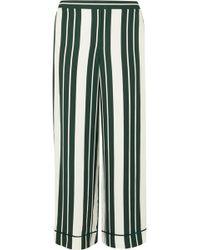 Oscar de la Renta - Striped Crepe Straight-leg Trousers - Lyst