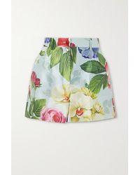 Dolce & Gabbana Shorts Aus Seide Mit Blumenprint - Blau