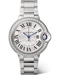 Cartier - Ballon Bleu De Automatic 36mm Stainless Steel And Diamond Watch - Lyst