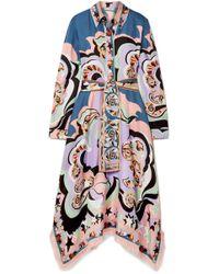 Emilio Pucci - Edie Fringed Printed Silk-twill Midi Dress - Lyst