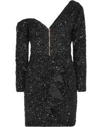 Self-Portrait Sequin Ruffle Mini Dress - Black