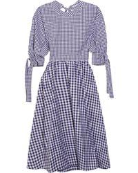 Rosetta Getty - Open-back Gingham Cotton Dress - Lyst