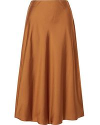 J.Crew Marco Charmeuse Midi Skirt - Brown