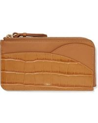 Chloé Walden Smooth And Glossed Croc-effect Leather Cardholder - Brown