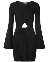 Cushnie Mini-robe En Mailles Côtelées À Découpe - Noir