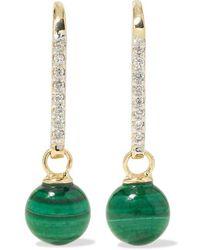 Mateo - 14-karat Gold, Malachite And Diamond Earrings - Lyst