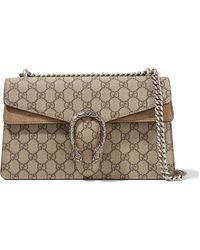 3122ca77578 Lyst - Gucci Boston Mini Leather-trimmed Coated-canvas Shoulder Bag ...