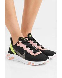 Nike React Element 55 Sneakers Aus Canvas Mit Glitter-finish Und Kunstleder - Schwarz