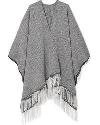 Rag & Bone Fringed Herringbone Wool-blend Wrap - Gray