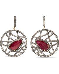 Amrapali | 14-karat Gold, Silver, Ruby And Diamond Earrings | Lyst