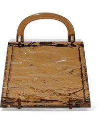 L'afshar Eva Textured-acrylic Tote - Brown