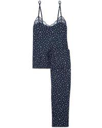 Eberjey Pyjama En Jersey De Modal Stretch À Imprimé Fleuri Et À Finitions En Dentelle Bloom - Bleu