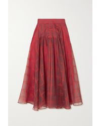 Akris Pleated Checked Mulberry Silk-blend Organza Midi Skirt - Red