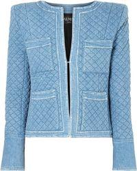 Balmain - Quilted Denim Jacket - Lyst