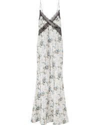 Brock Collection - Donnie Lace-trimmed Floral-print Silk-taffeta Maxi Dress - Lyst