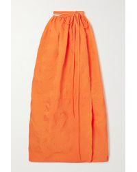 Christopher Esber Crinkled Cloqué Maxi Wrap Skirt - Orange