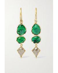 Brooke Gregson Boucles D'oreilles En Or 18 Carats (750/1000), Émeraudes Et Diamants Orbit - Métallisé