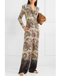 Etro Printed Silk Crepe De Chine Jumpsuit - Natural