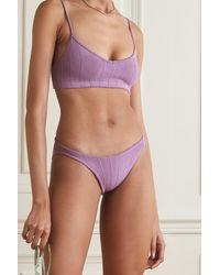 Hunza G + Net Sustain Virginia Nile Gerippter Bikini - Lila