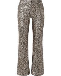 Anna Sui - Twinkling Stars At Night Sequined Mesh Wide-leg Pants - Lyst