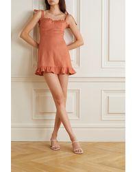 Reformation Desiree Ruffled Linen Mini Dress - Orange