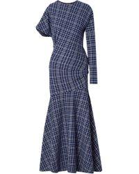 CALVIN KLEIN 205W39NYC - Asymmetric Prince Of Wales Checked Cady Maxi Dress - Lyst