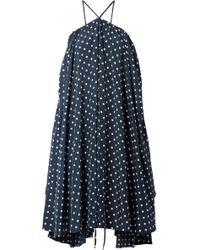 we11done Polka-dot Satin Dress - Blue