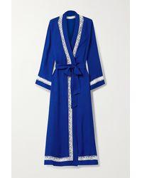 Loretta Caponi Lace-trimmed Silk-georgette Robe - Blue