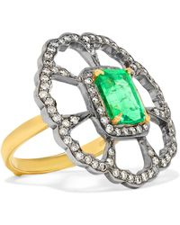 Amrapali - 18-karat Gold, Sterling Silver, Diamond And Emerald Ring - Lyst