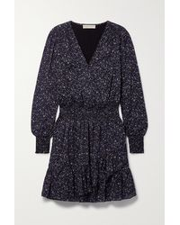 MICHAEL Michael Kors Julia Wrap-effect Floral-print Cotton Mini Dress - Blue