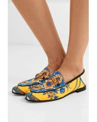 Gucci Jordaan Horsebit-detailed Leather-trimmed Printed Twill Loafers - Yellow