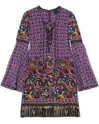 Anna Sui - Printed Silk Crepe De Chine Mini Dress - Lyst