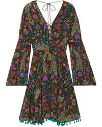 Matthew Williamson - Pampas Peacock Pompom-embellished Printed Silk Crepe De Chine Mini Dress - Lyst