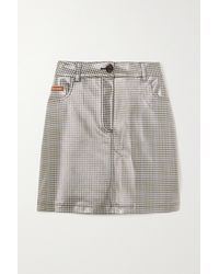 ALEXACHUNG Checked Coated-pu Mini Skirt - Grey