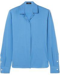 00f1340d03e87c Theory - Stretch-silk Crepe De Chine Shirt - Lyst