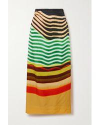 Dries Van Noten Striped Faille Maxi Skirt - Yellow