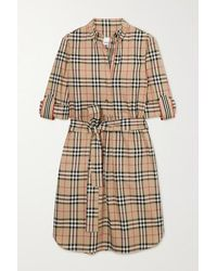 Burberry Belted Checked Cotton-blend Poplin Mini Dress - Natural