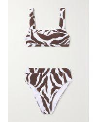 Faithfull The Brand + Net Sustain Marta Bikini Mit Zebraprint - Braun