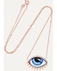 Lito + Zeus+dione Tu Es Partout 14-karat Rose Gold Enamel Necklace - Multicolour