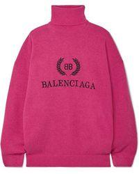 Balenciaga Rollkragenpullover Aus Einer Woll-kaschmirmischung Mit Stickerei - Pink