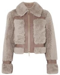 Zimmermann Fleeting Paneled Leather And Shearling Jacket - Natural