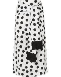 Mother Of Pearl + Net Sustain Kate Fringed Tie-front Polka-dot Lyocell Midi Skirt - White