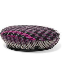 Maison Michel Billy Vinyl-trimmed Houndstooth Tweed Beret - Purple