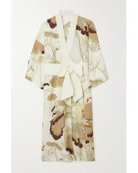 Olivia Von Halle Amaya Morgenmantel Aus Einer Baumwoll-seidenmischung Mit Blumenprint - Weiß