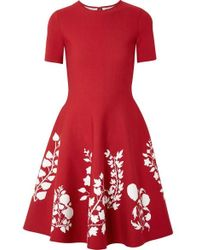 Oscar de la Renta Intarsia Stretch-knit Dress - Red
