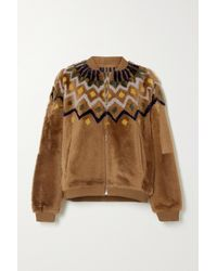 Yves Salomon Reversible Panelled Shearling Jacket - Brown