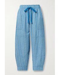Apiece Apart Pantalon De Survêtement Raccourci En Crépon De Coton Biologique À Rayures Herradura Surf - Bleu
