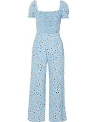 Faithfull The Brand Della Shirred Floral-print Crepe Jumpsuit - Blue