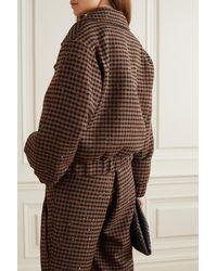 Alessandra Rich Vichy Embellished Houndstooth Tweed Bomber Jacket - Brown