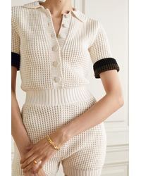 Fendi Striped Knitted Playsuit - White